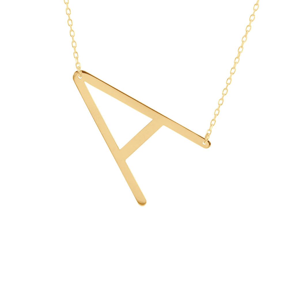 Larged Balanced Block Initial Necklace
