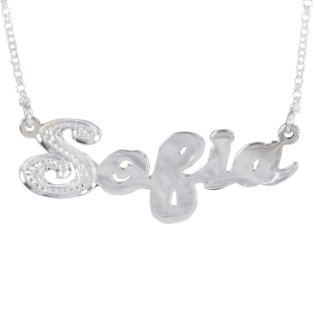 Script Nameplate with First Letter Rhodium