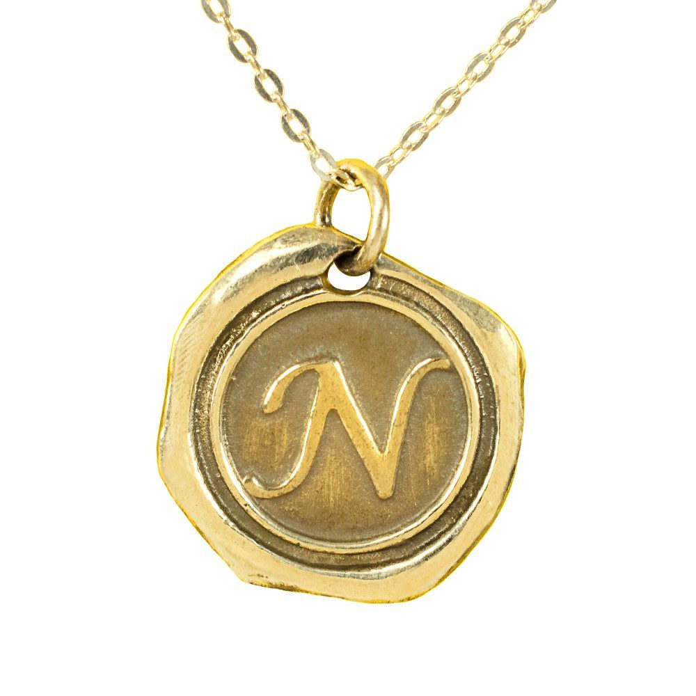 14K gold plated sterling silver Initial Wax Seal Necklace