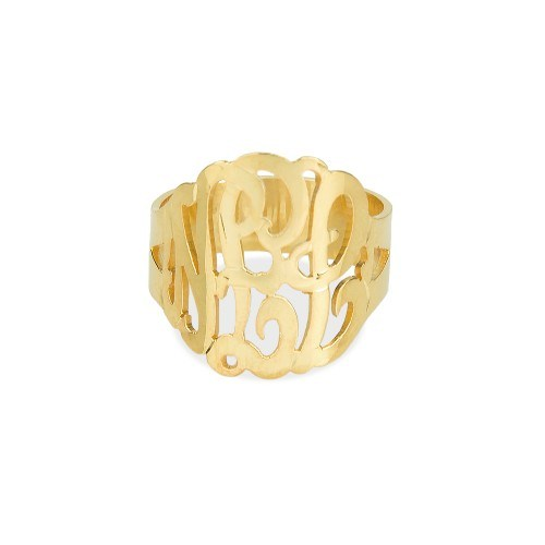 a 14K gold plated sterling silver monogram cuff ring
