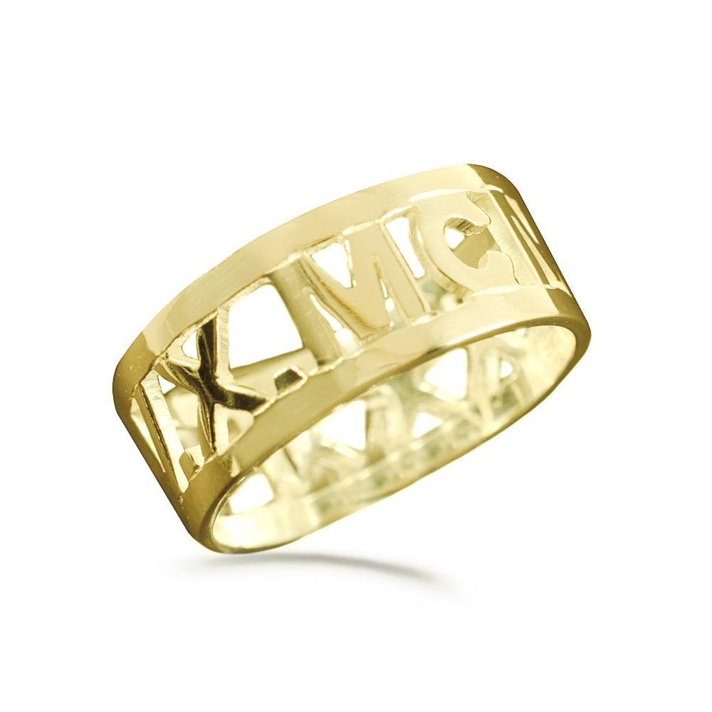 14K gold plated sterling silver-cut-out-roman-band-ring