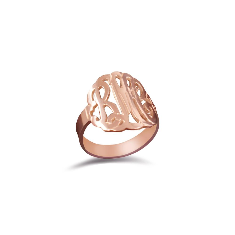 24k rose gold plated sterling silver monogram ring