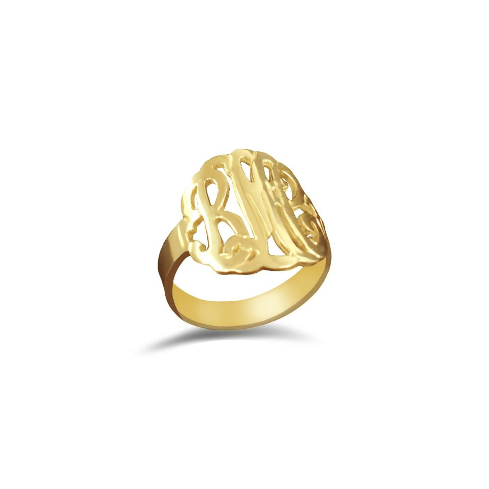 24k gold plated sterling silver monogram ring