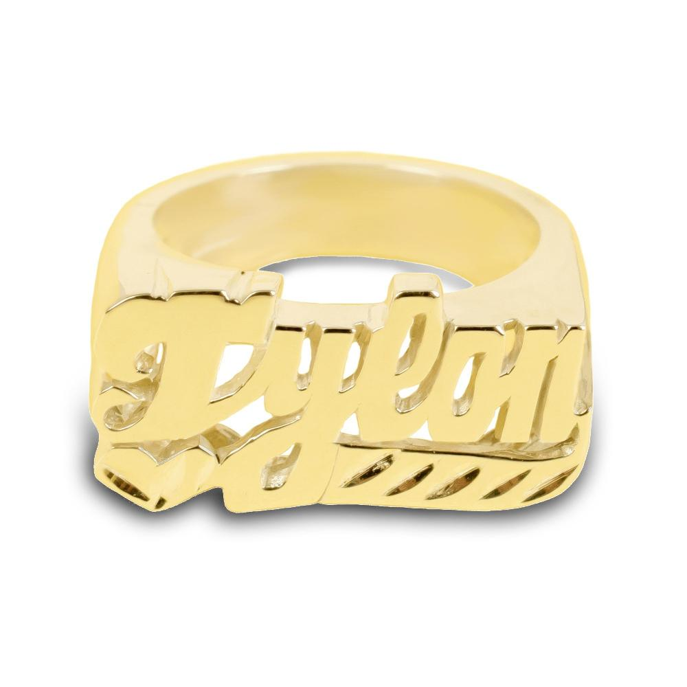 14K gold plated sterling silver -dynamic-personalized-name-ring