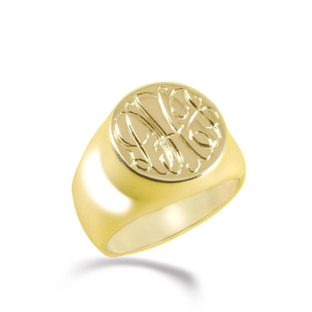 14K gold plated sterling silver monogram signet ring