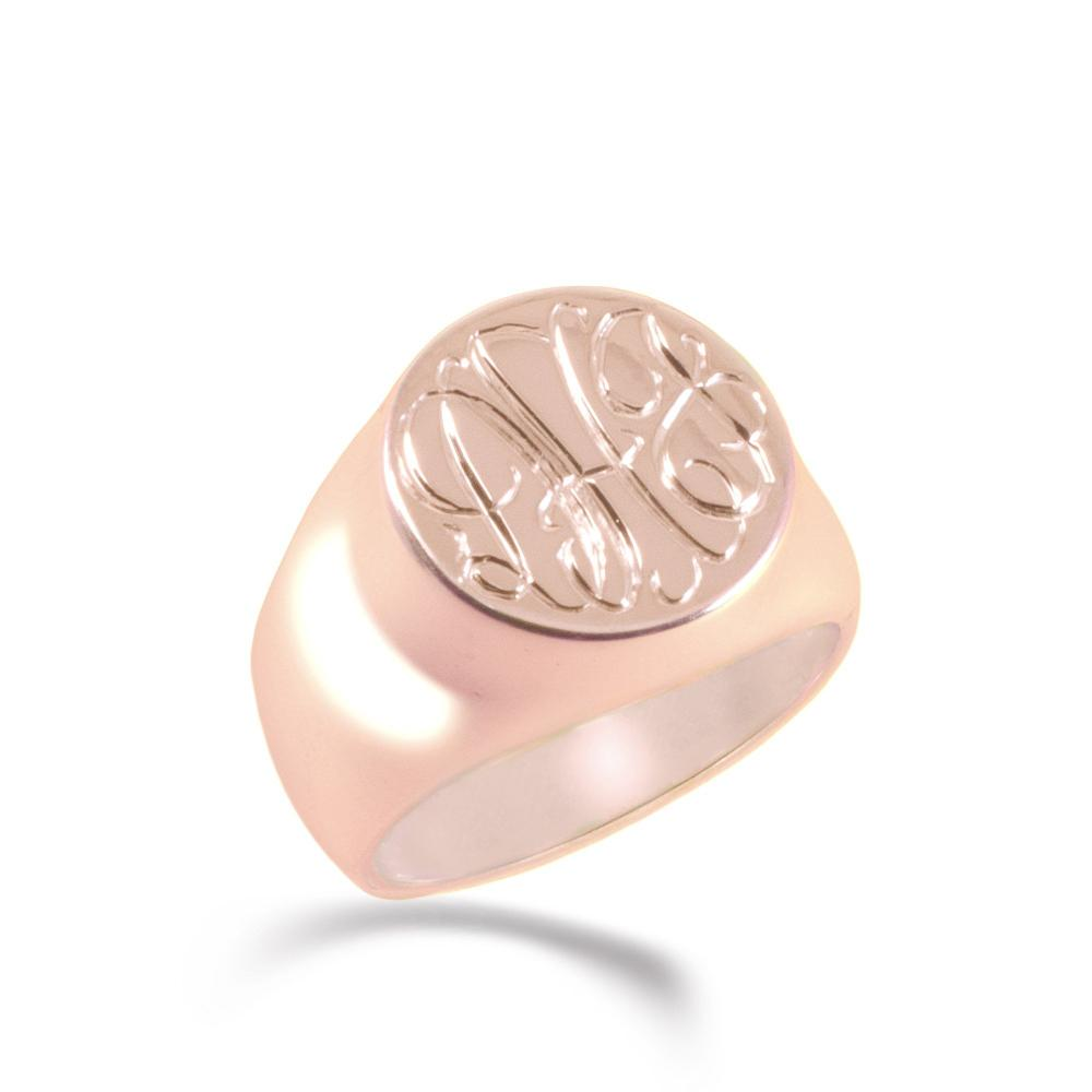 14K rose gold plated sterling silver monogram signet ring