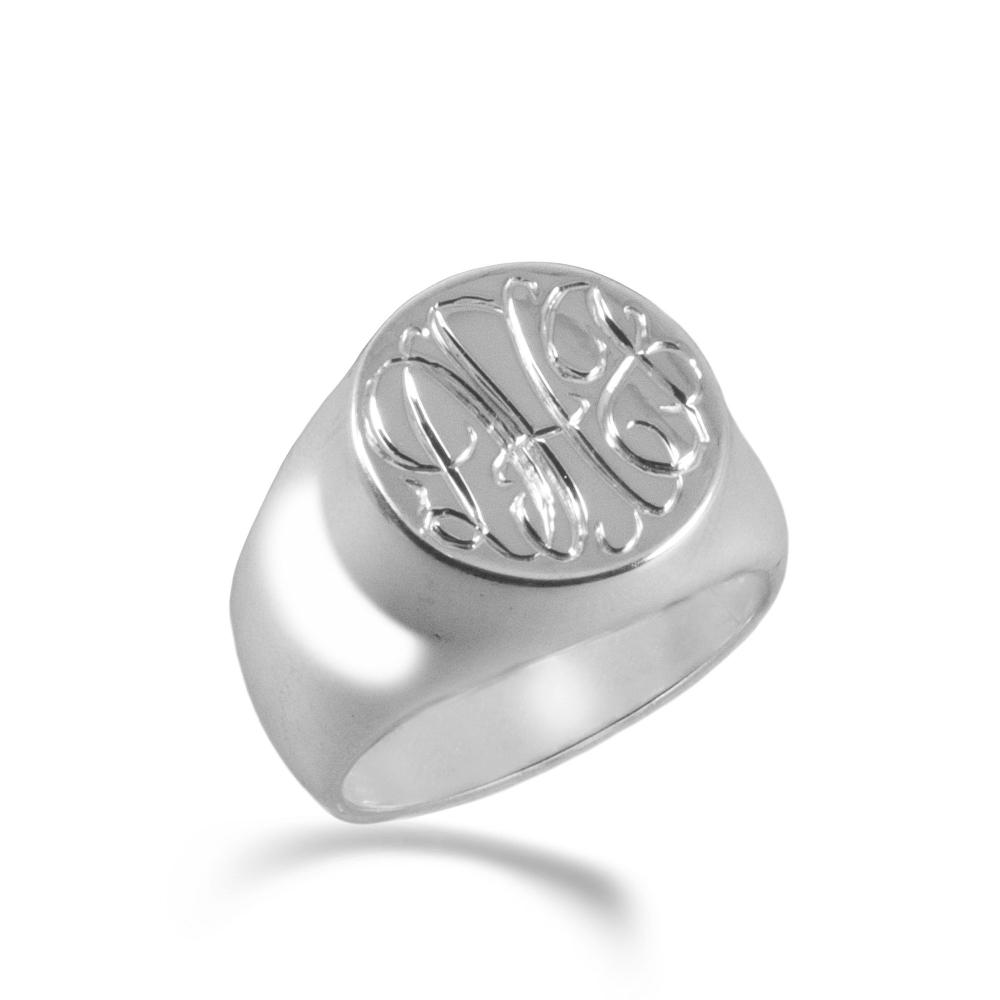 silver monogram signet ring