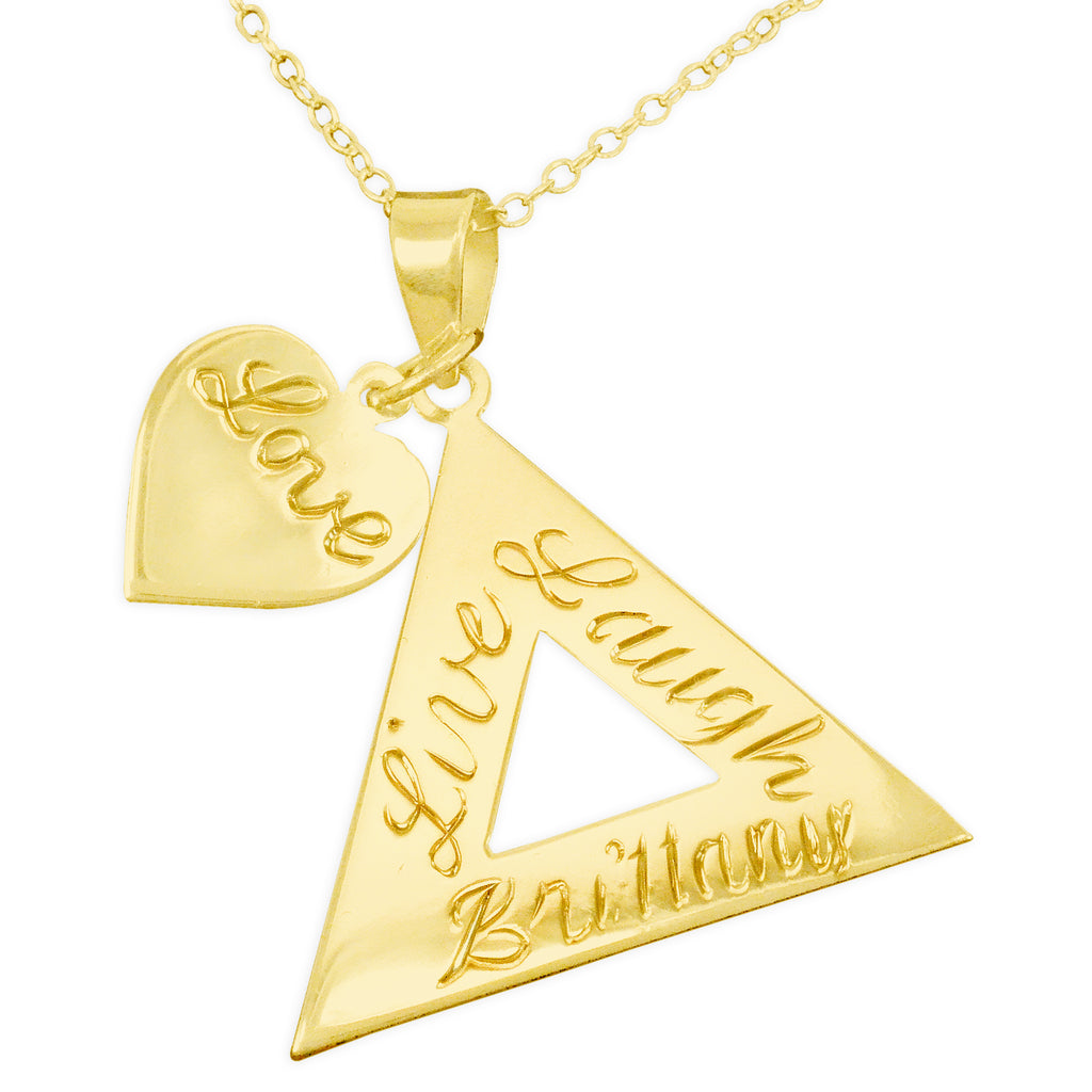 Engraved Pyramid Pendant Name Necklace