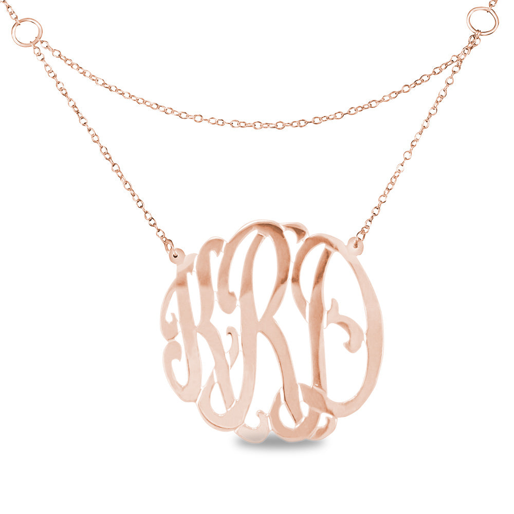 24K rose gold-plated sterling silver round monogram necklace with double chain