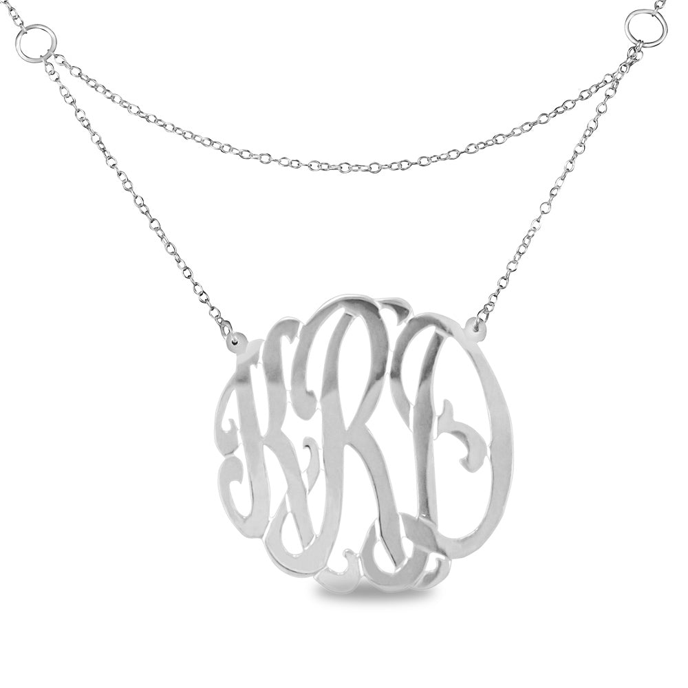 silver round monogram necklace with double chain