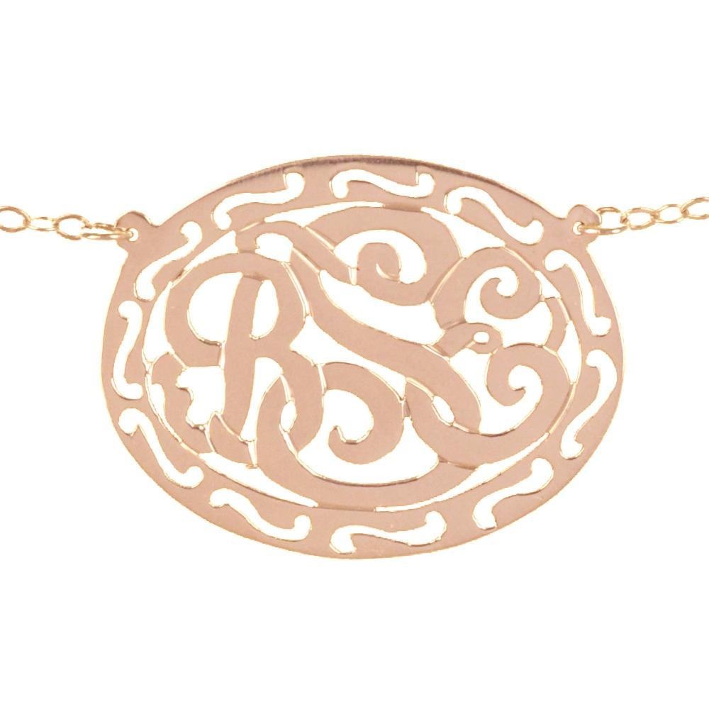 14K rose_gold plated sterling silver-filigree-framed-monogram necklace