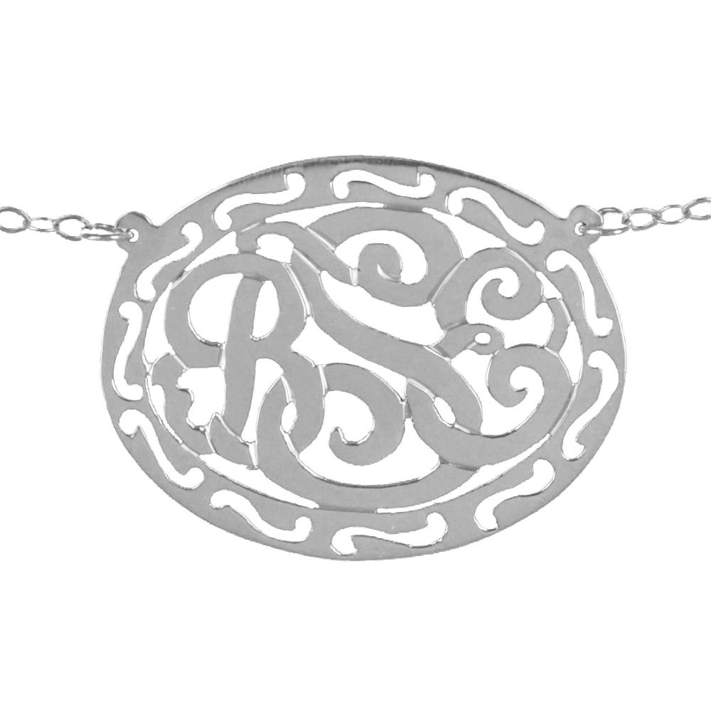 sterling silver filigree framed monogram necklace