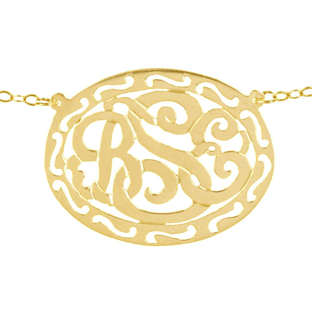 14K gold plated sterling silver-filigree-framed-monogram necl;ace