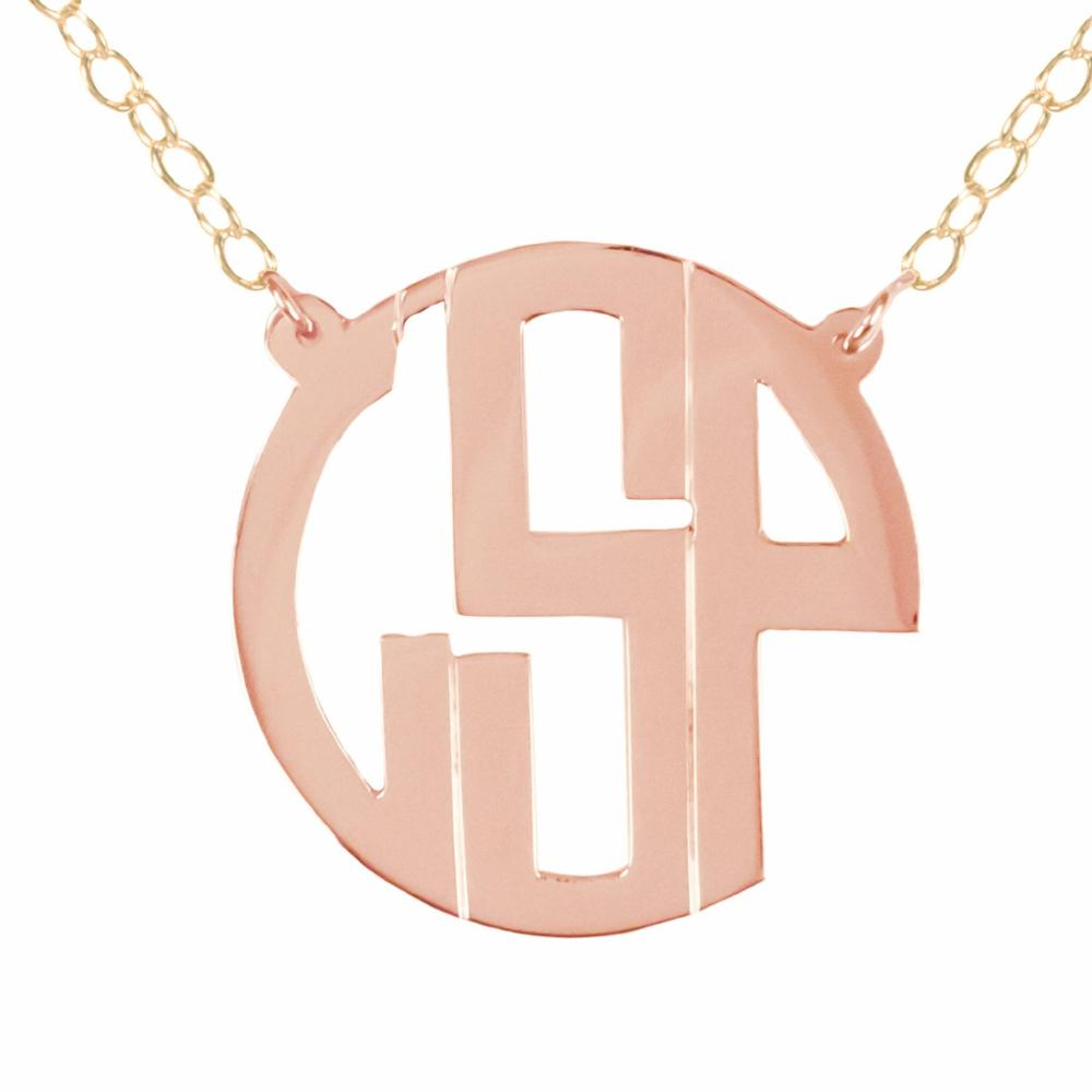 14K rose gold plated sterling silver circle monogram necklace