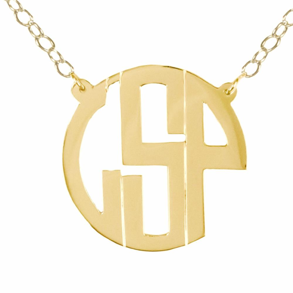 14K gold plated sterling silver circle monogram necklace