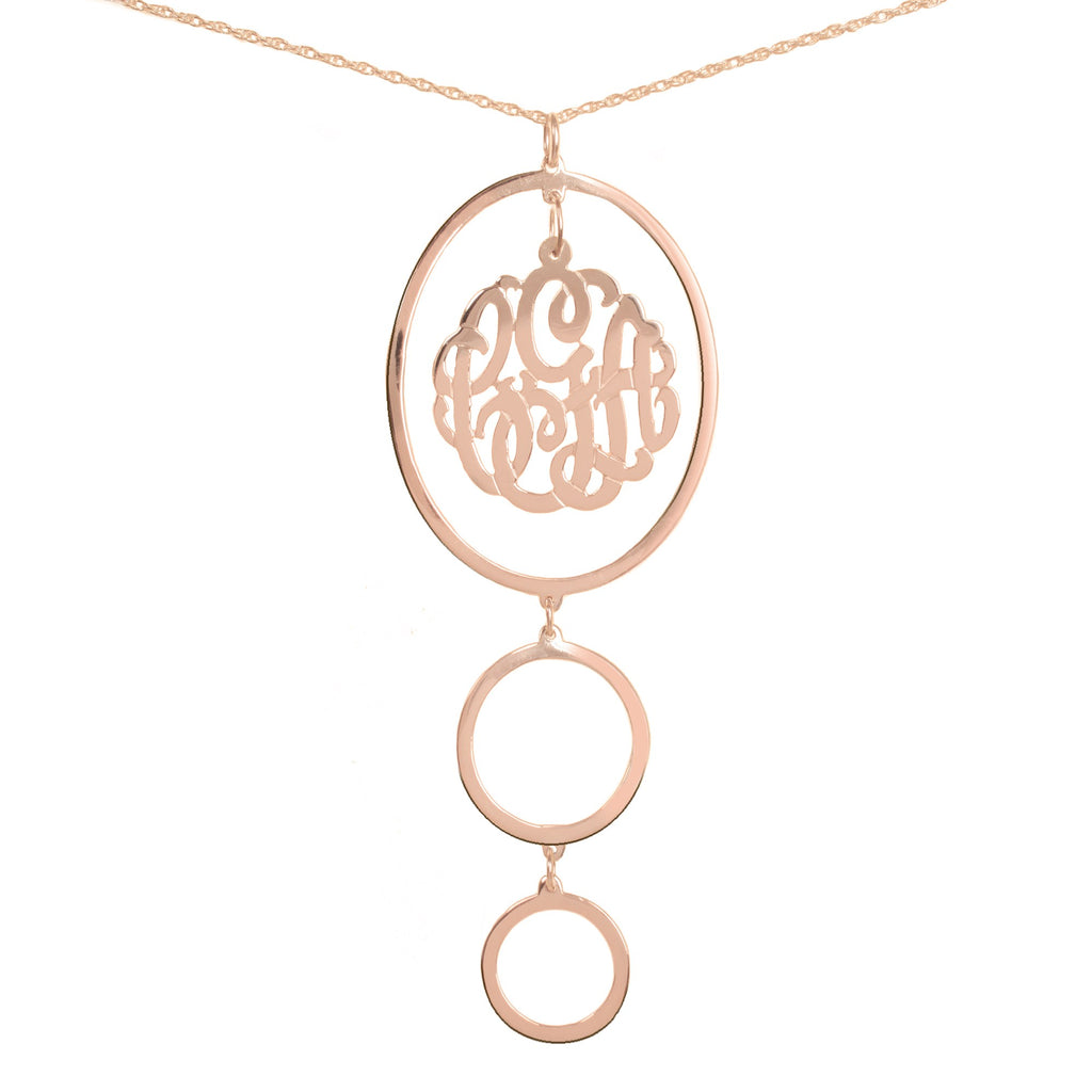 14K rose gold-plated silver circular drop pendant necklace with monogram inside top oval pendant