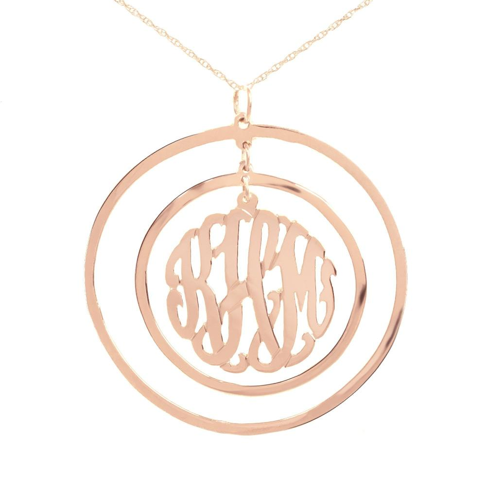 244k rose_gold plated sterling silver-Circular-Chandelier-Pendant-Monogram-Necklace