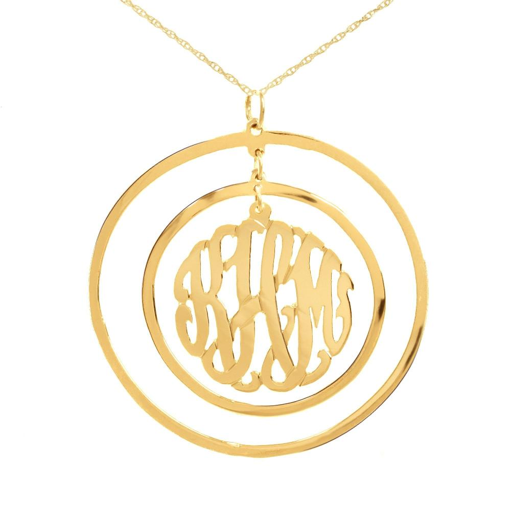 14K gold plated sterling silver-Circular-Chandelier-Pendant-Monogram-Necklace