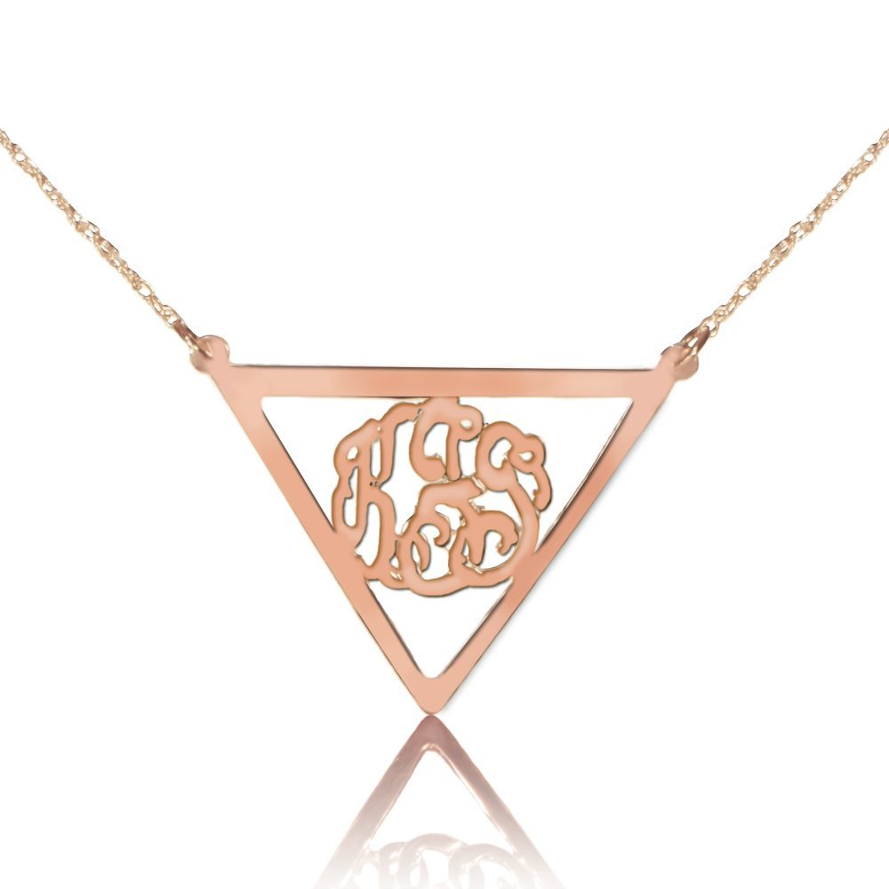 14K rose gold plated sterling silver monogram necklace inside thick inverse triangle frame pendant