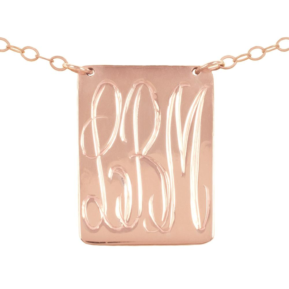 14K rose-gold plated sterling silver-inverse-pyramid-monogram-necklace