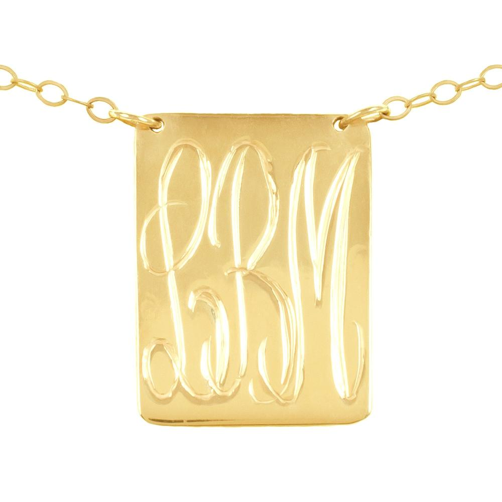 14K gold plated sterling silver-inverse-pyramid-monogram-necklace