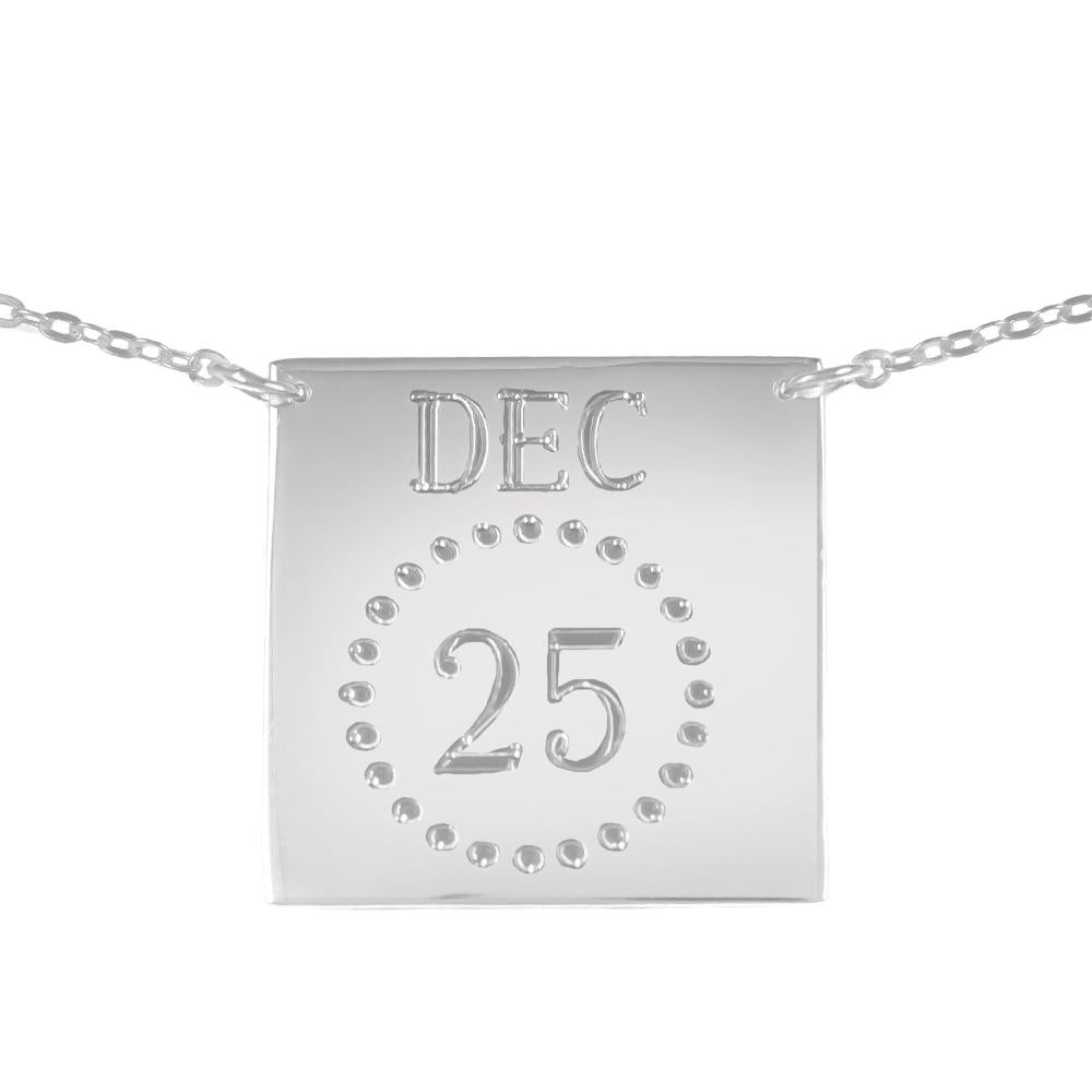 sterling silver calendar necklace
