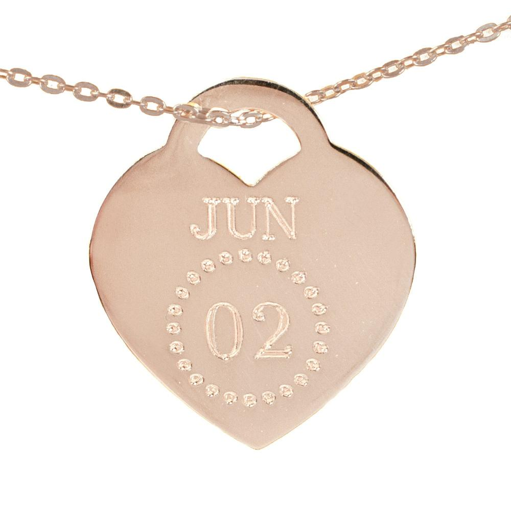 14K rose_gold plated sterling silver-special-date-heart-necklace