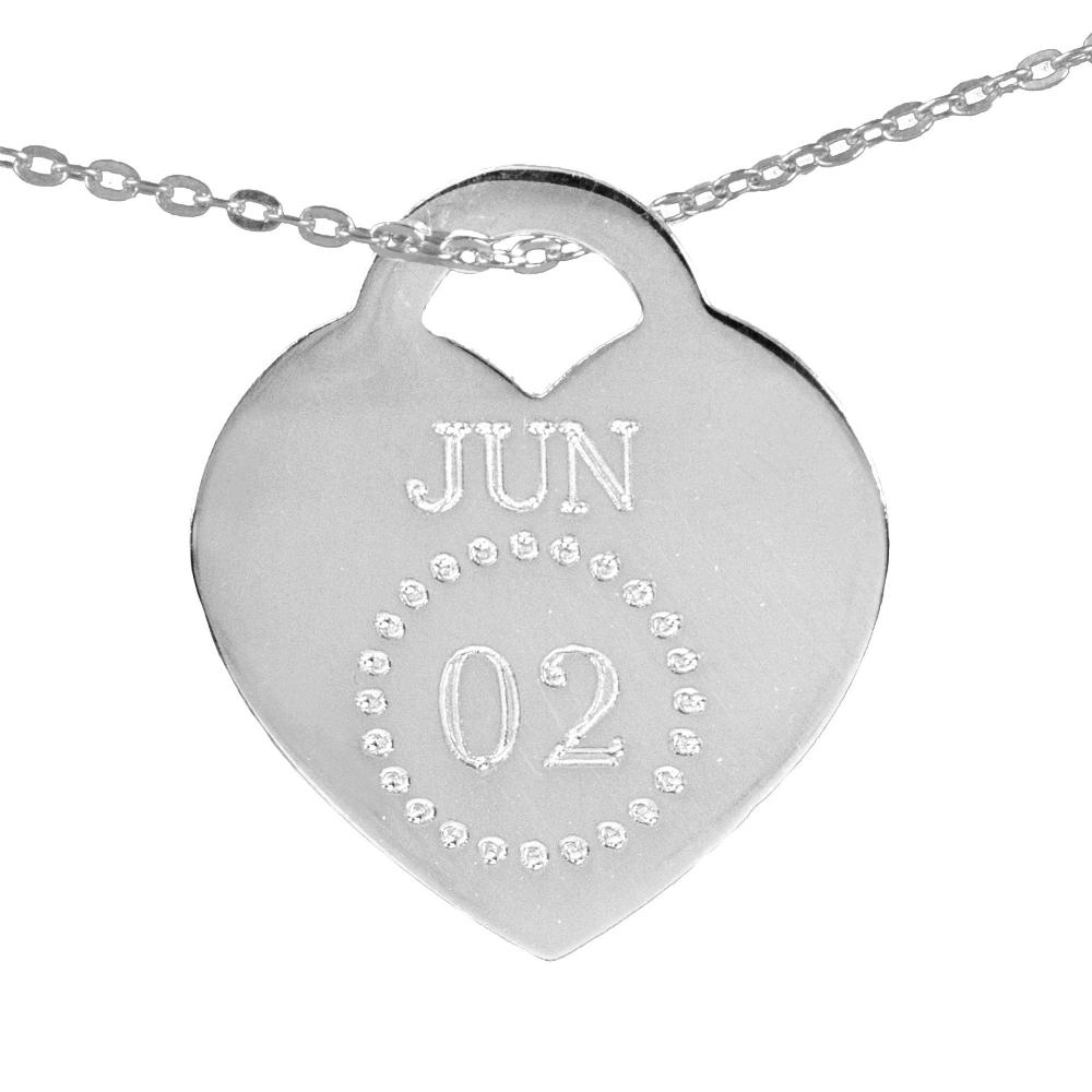 sterling silver special date heart necklace