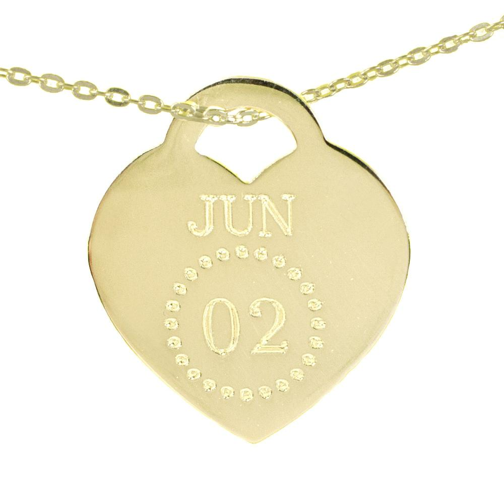 14K gold plated sterling silver-special-date-heart-necklace