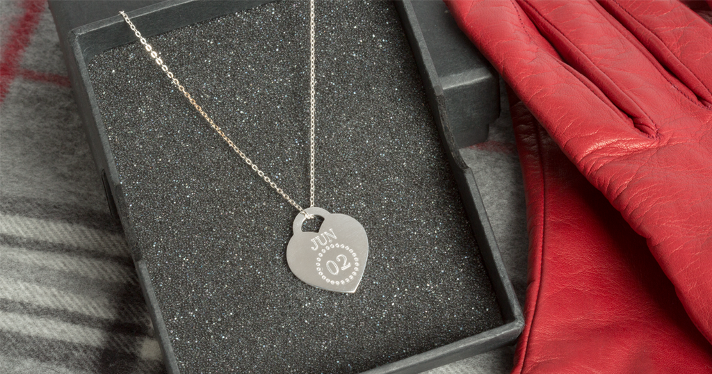 Personalized Engraved Heart Calendar Necklace
