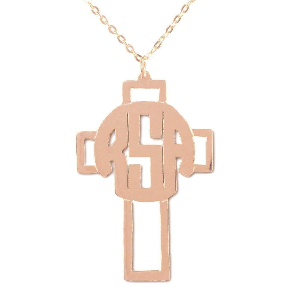 14K rose gold plated sterling silver circle monogram cross necklace