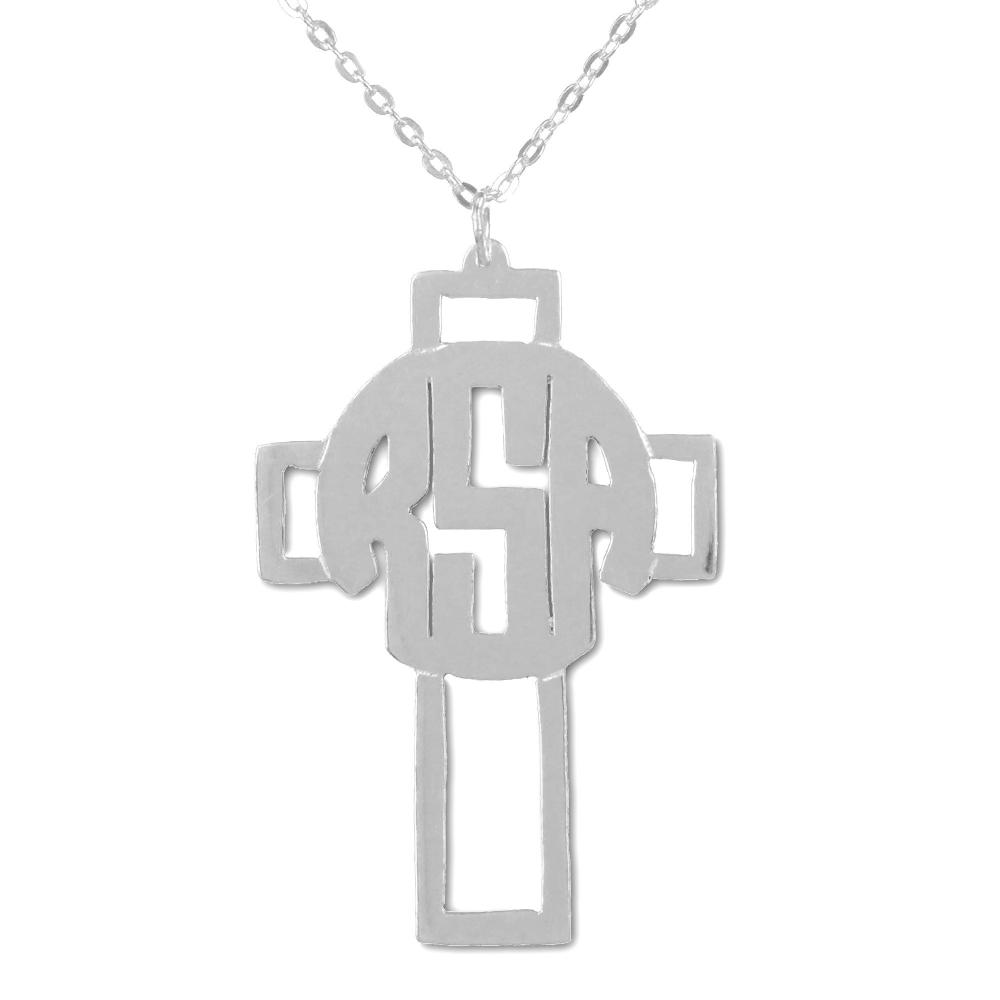 sterling silver circle monogram cross necklace