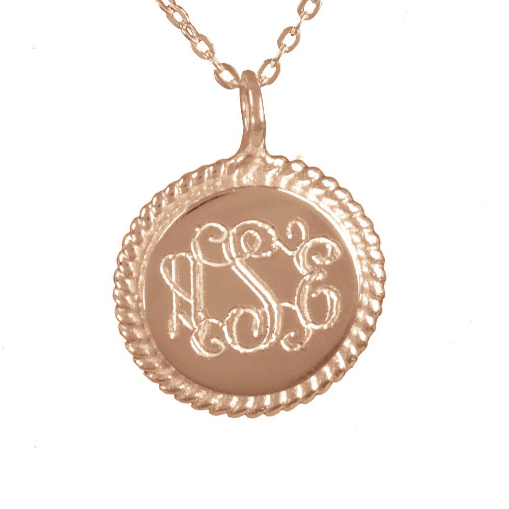 14K rose gold plated sterling silver engraved monogram necklace