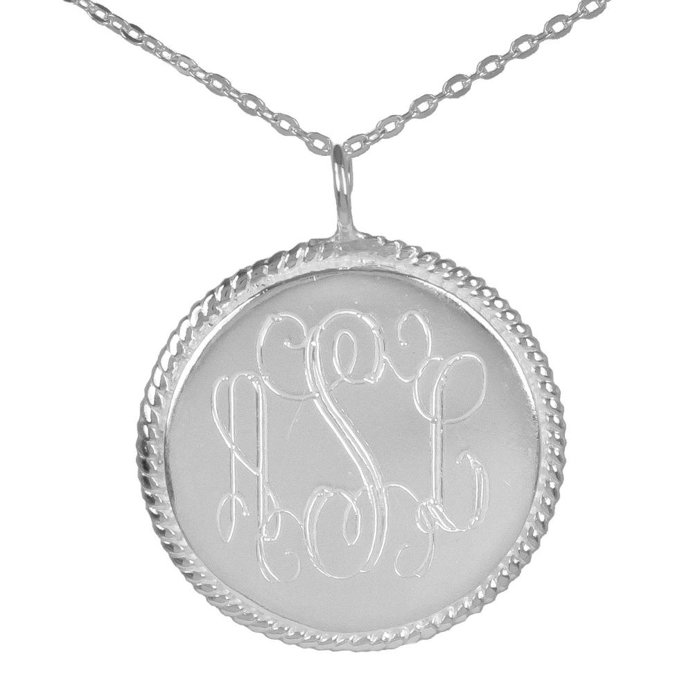 sterling silver rope accent pendant small