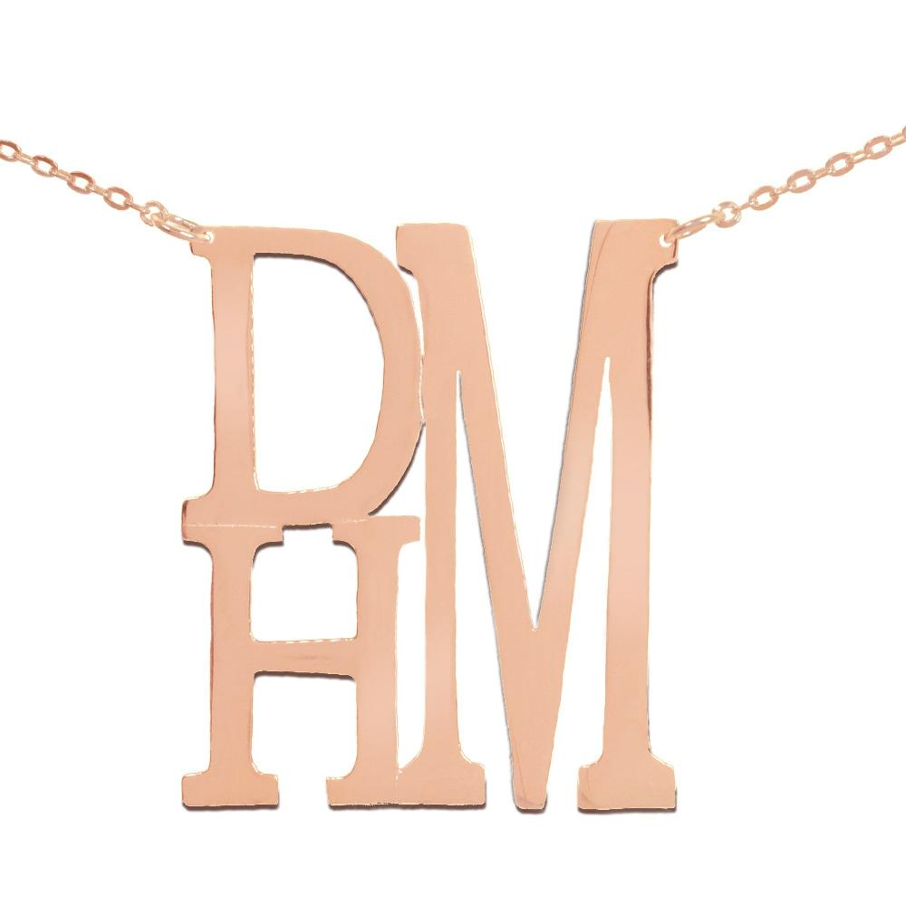 14K rose_gold plated sterling silver-stacked-monogram-necklace