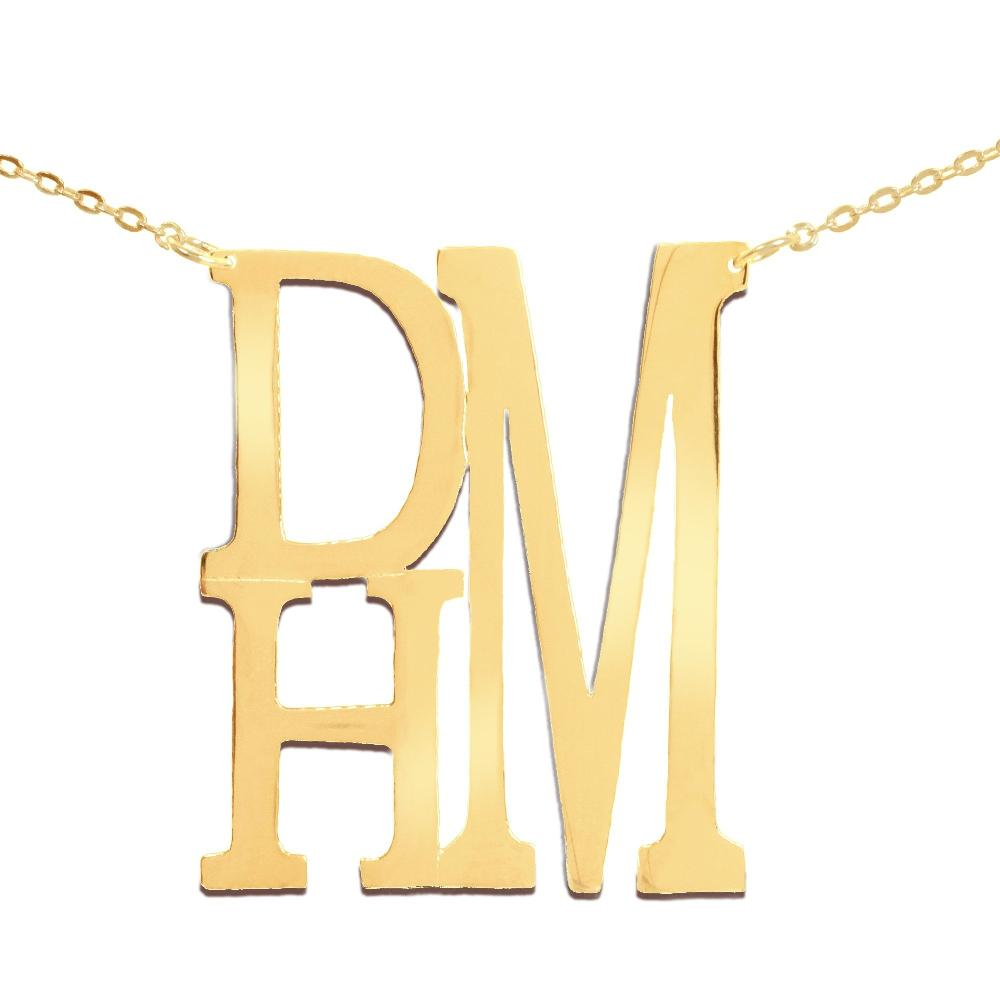 14K gold plated sterling silver-stacked-monogram-necklace