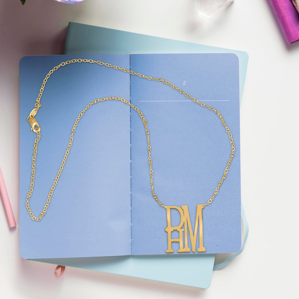 Stacked Initial Name Necklace
