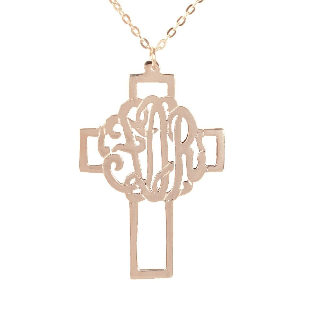 24k rose_gold plated sterling silver-monogram-cross-pendant