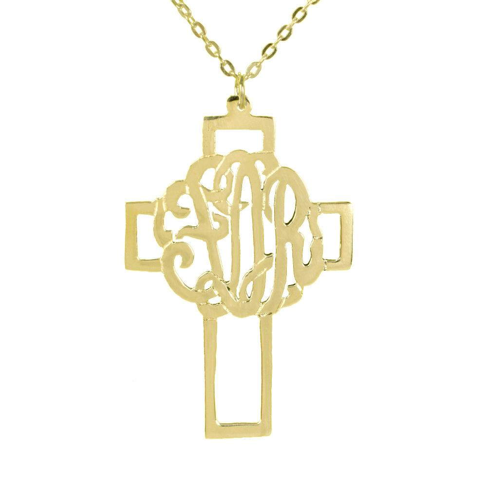 14K gold plated sterling silver-monogram-cross-pendant
