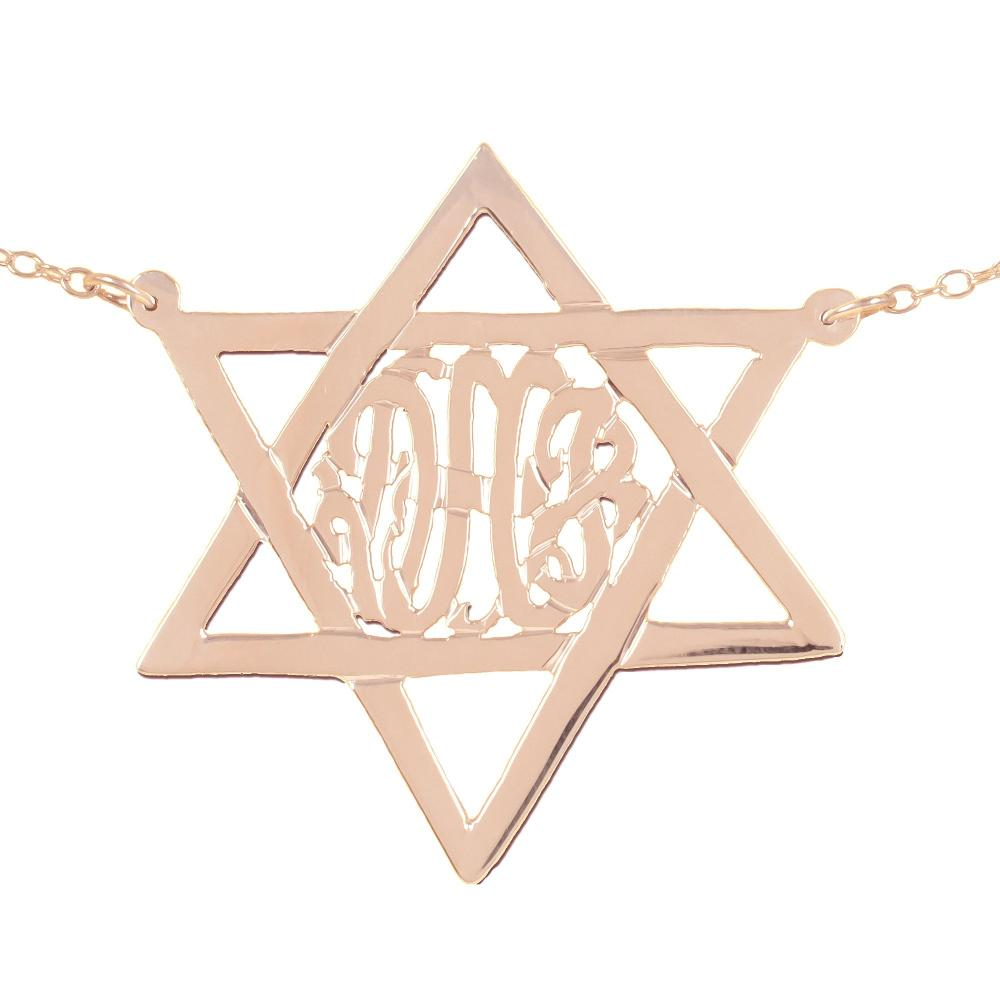 14K rose_gold plated sterling silver-monogram-star-of-david-necklace