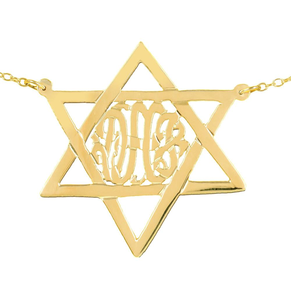 24k gold plated sterling silver-monogram-star-of-david-necklace