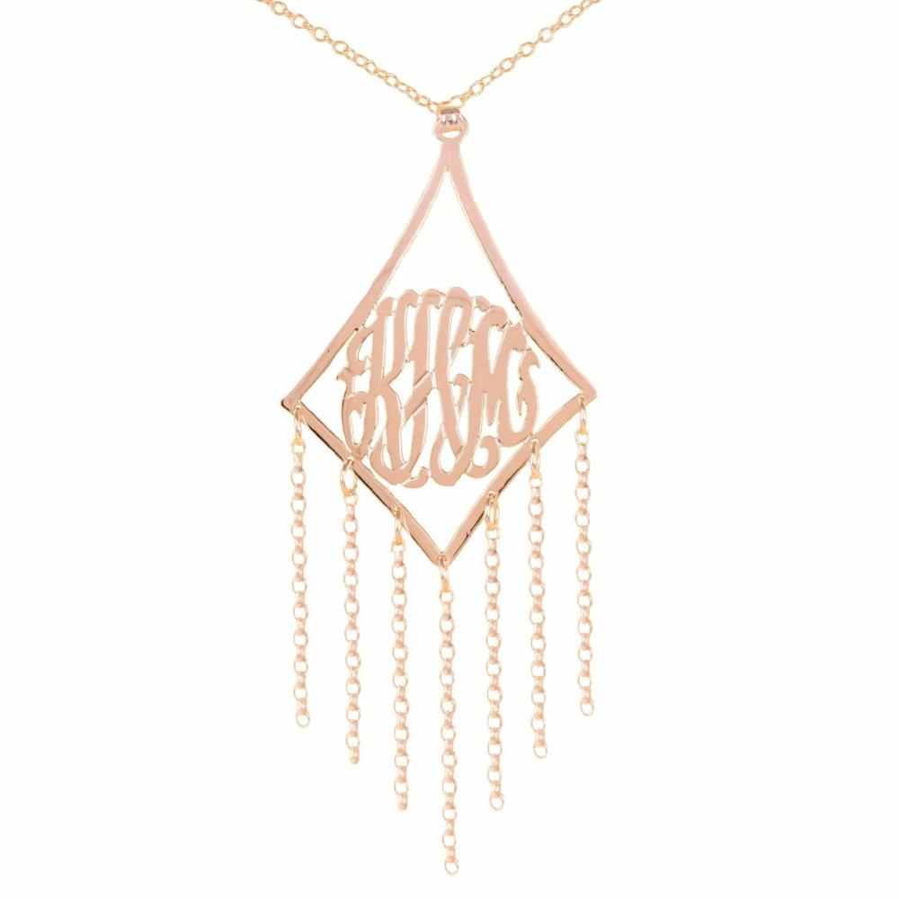 14K rose_gold plated sterling silver-framed-monogram-with-chain-drop-