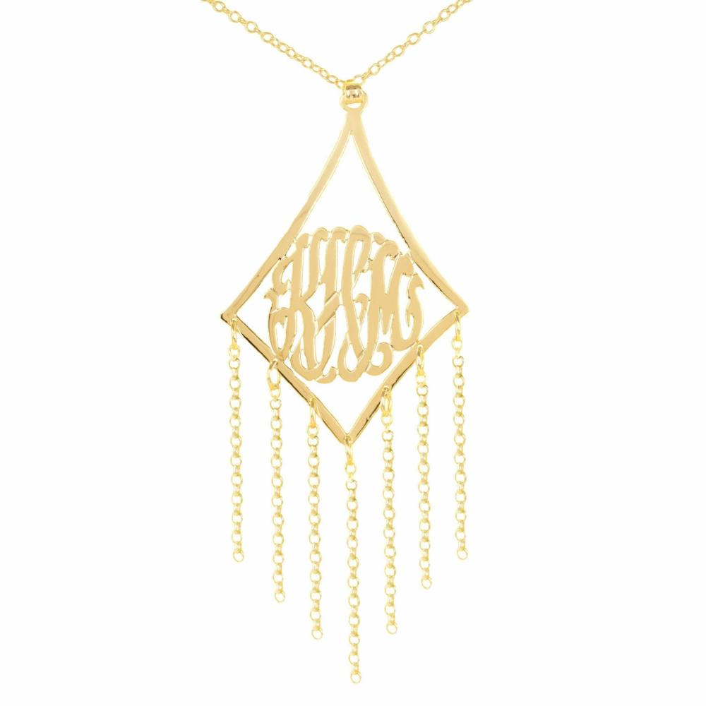 14K gold plated sterling silver-framed-monogram-with-chain-drop