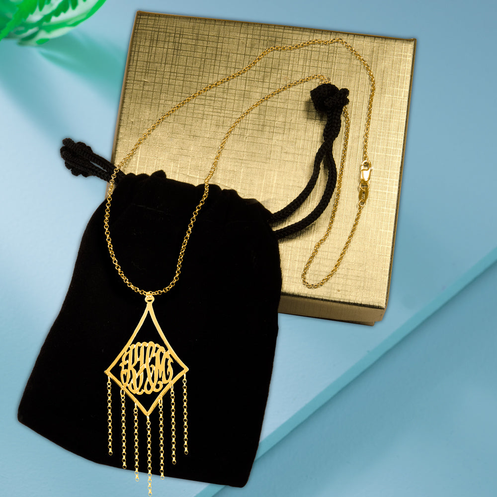 Framed Chain Accent Monogram Necklace