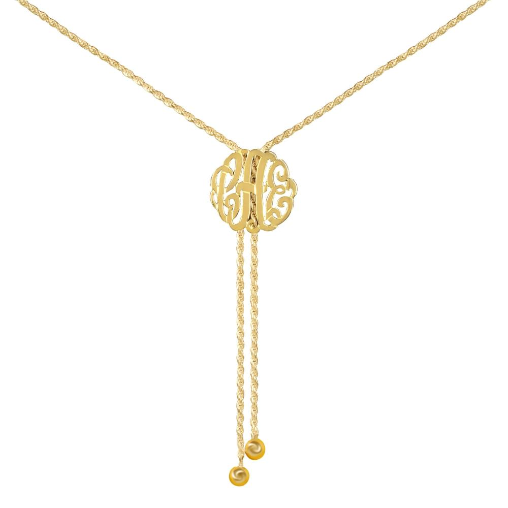 14K gold plated sterling silver-lariat-monogram-necklace-medium