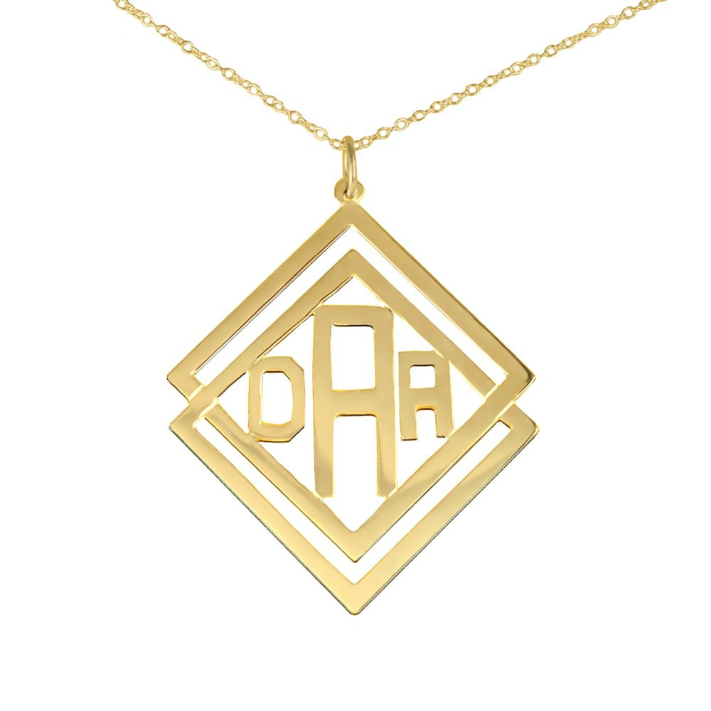 14K gold plated sterling silver-social-society-monogram-necklace