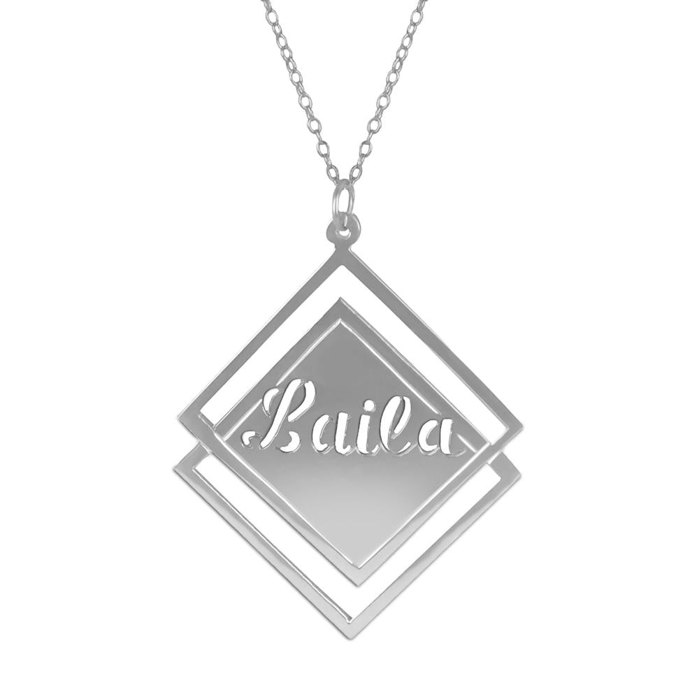 sterling silver society name necklace