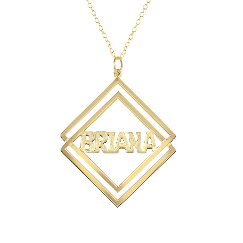 14K gold plated sterling silver-social-society-block-name-necklace