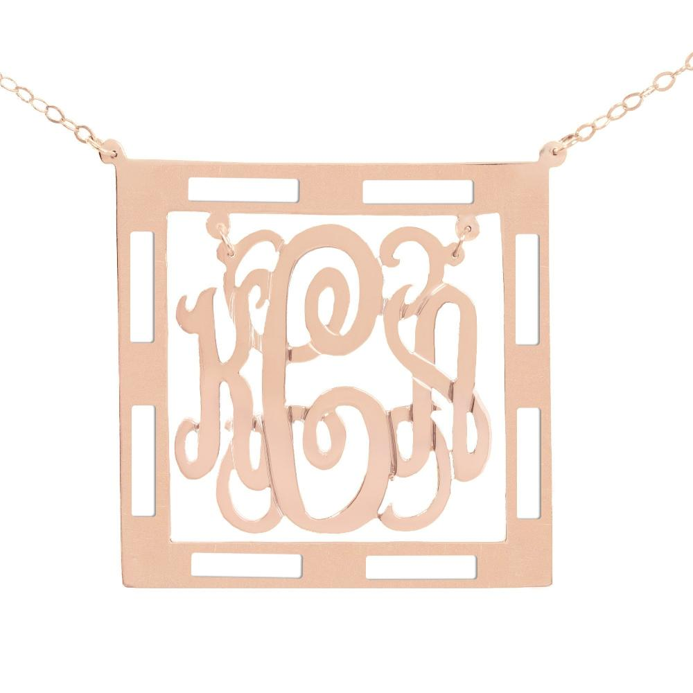 14Kt rose gold-plated Chandelier Classic Framed Monogram Necklace