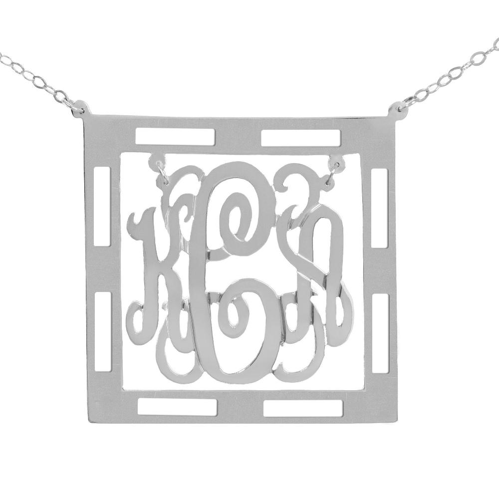 sterling silver Chandelier Classic Framed Monogram Necklace